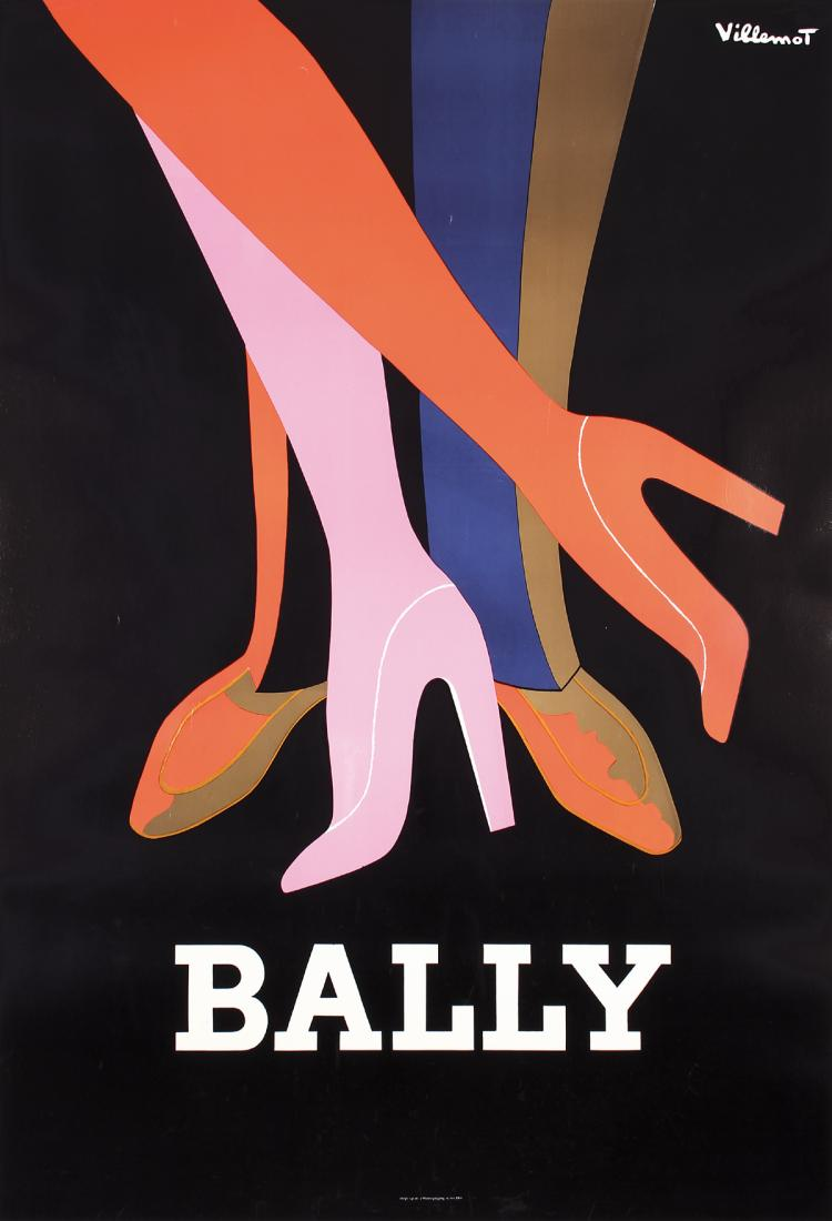 Original Vintage 1970s VILLEMOT Bally Shoe Poster