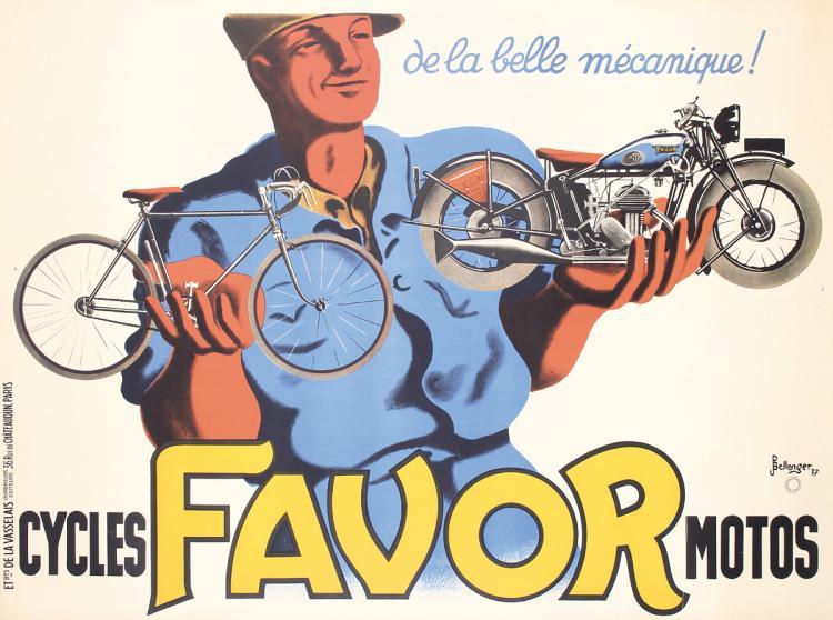 Old Original Vintage 1930s Favor Bicycles Motorcycles Poster