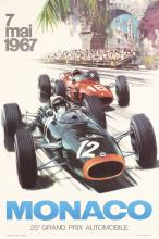 Original Vintage 1967 Auto Grand Prix Monaco Poster Turner Art