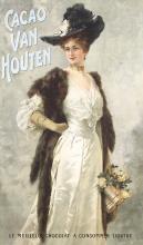 Rare Original Vintage 1900s Van Houten Cacao Chocolate Poster