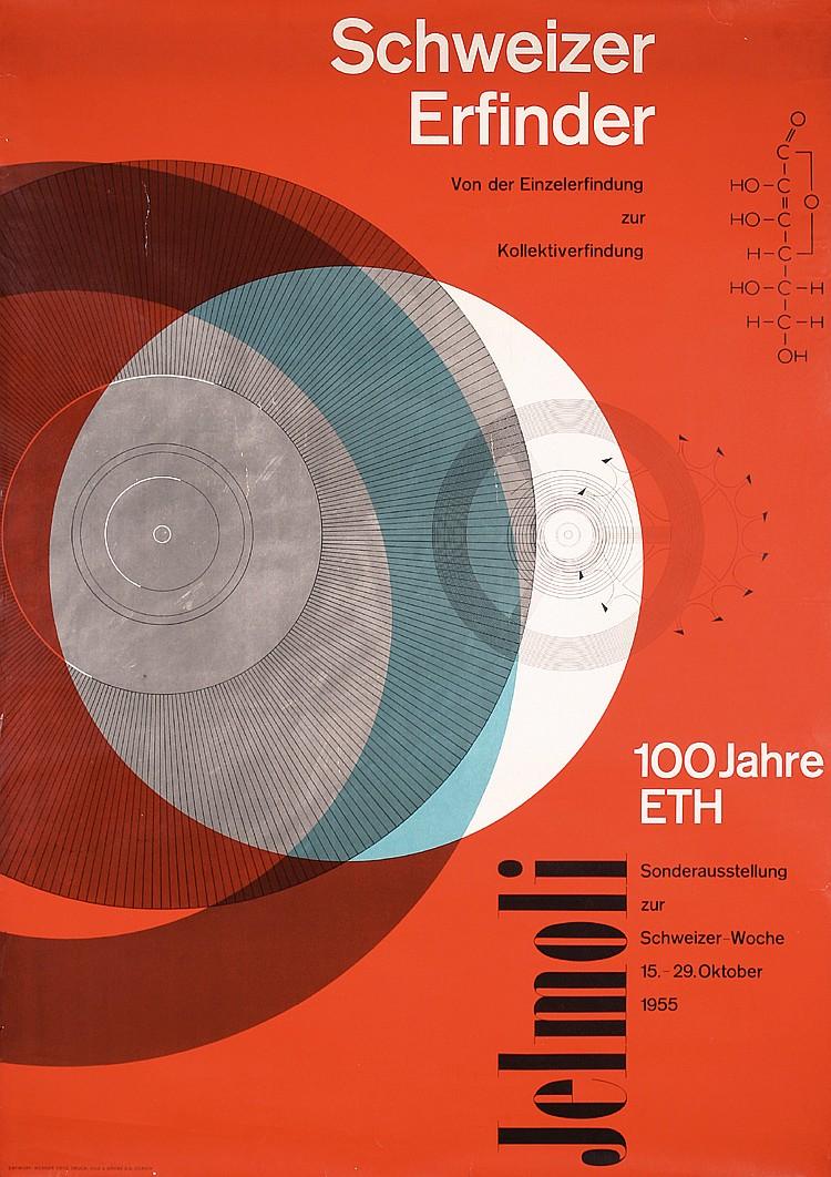 Original 1950s Futuristic Swiss Graphic Design Poster