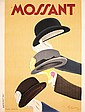 Old Original 1930s CAPPIELLO Mossant Hats Poster Plakat