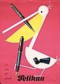 Original 1950s LEUPIN Swiss Pelikan Fountain Pen Poster