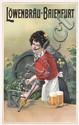 Old Original 1910s German Beer Poster Lowenbrau