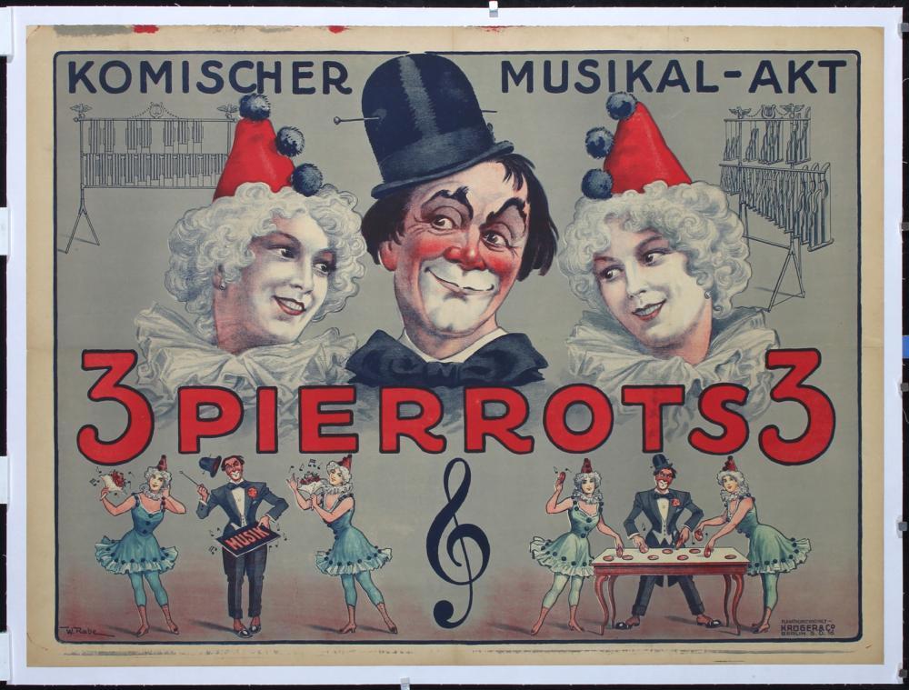 Original Vintage 1910s German Circus Poster 3 Pierrots