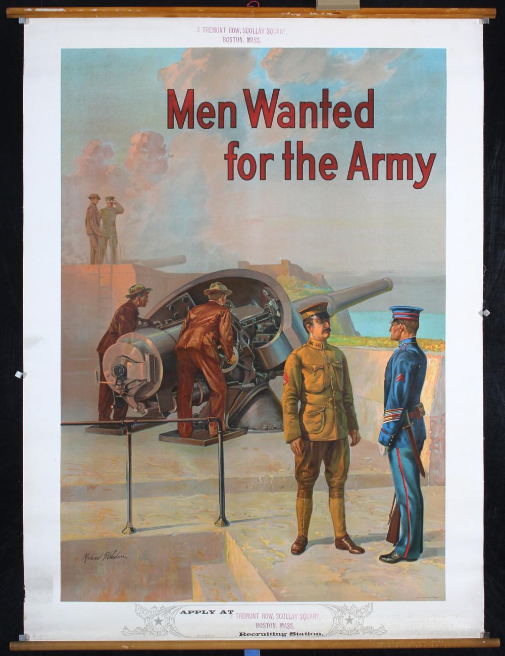 Original Vintage 1909 US Army Poster Men Wanted