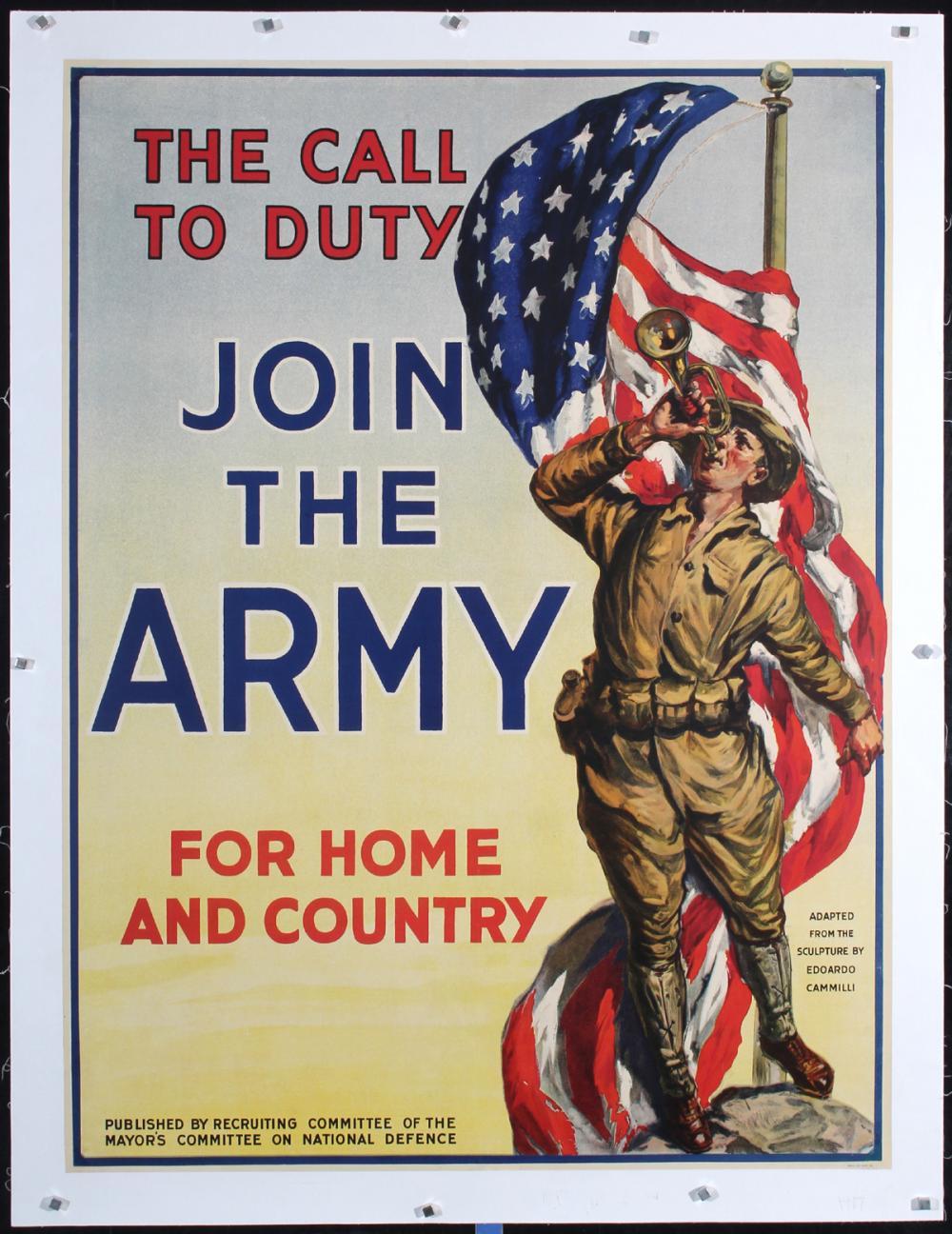 Original Vintage American WW I Poster Army Recruitment