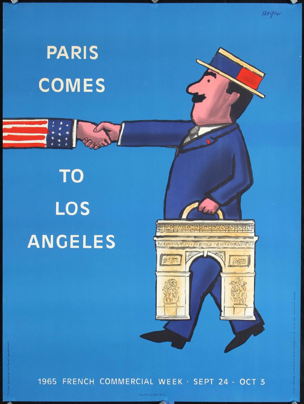 Original 1950s Paris Travel Poster SAVIGNAC Art Affiche