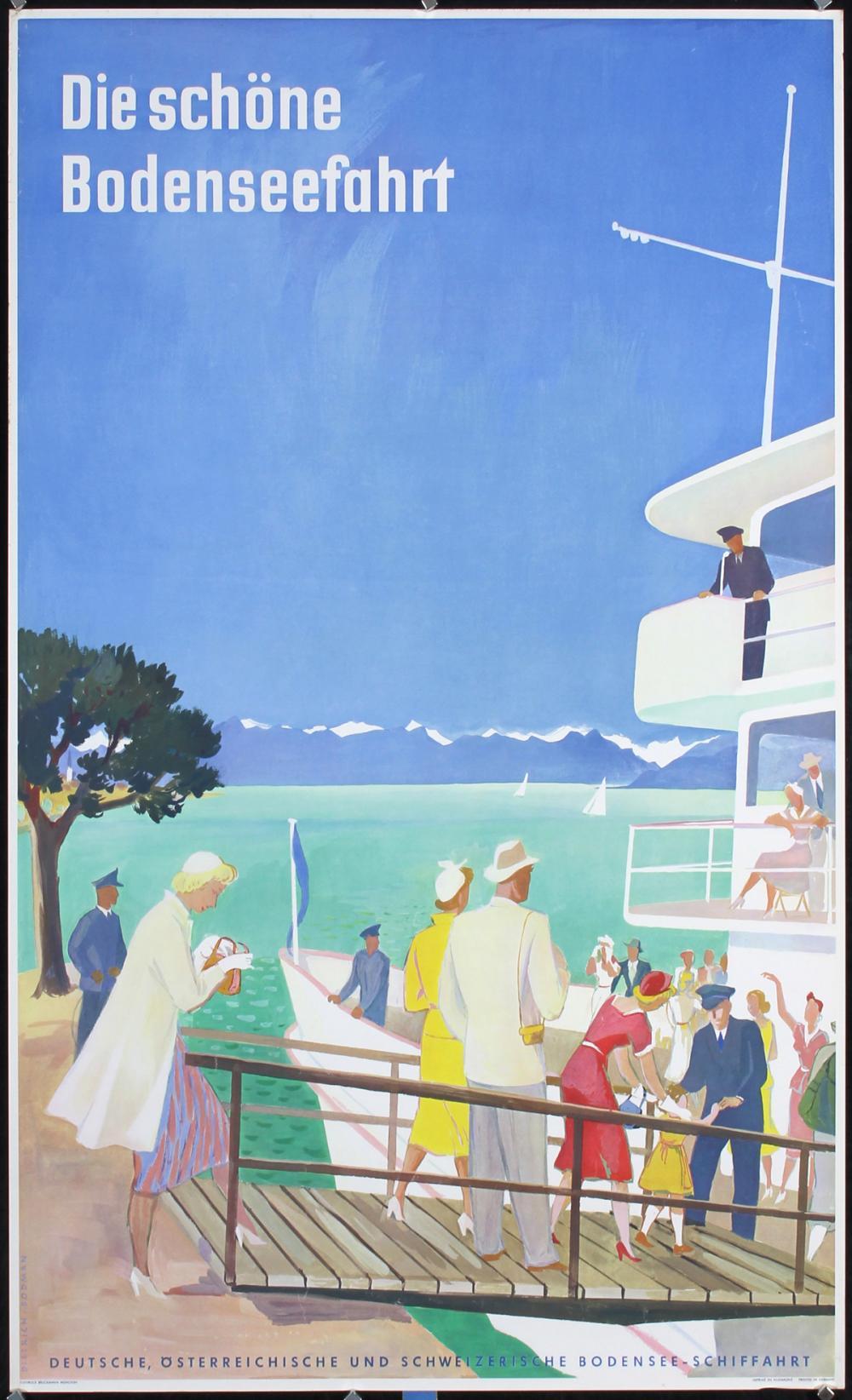 Original Vintage 1950s German Travel Poster Bodensee