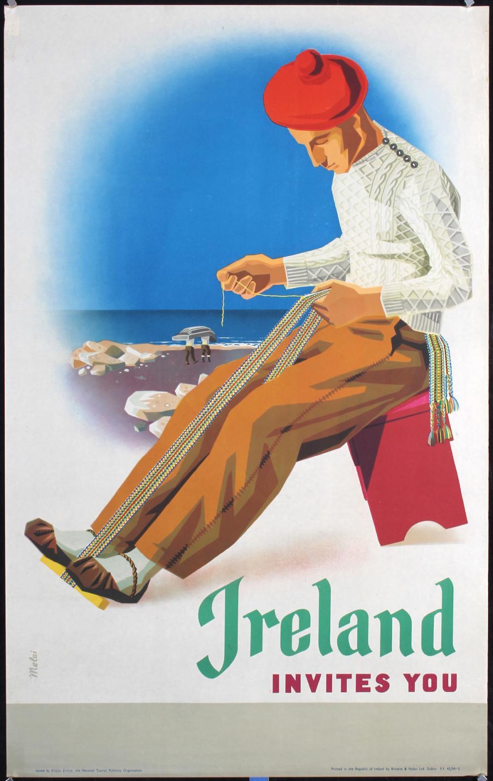 Original Vintage 1950s Ireland Travel Poster Melai Art
