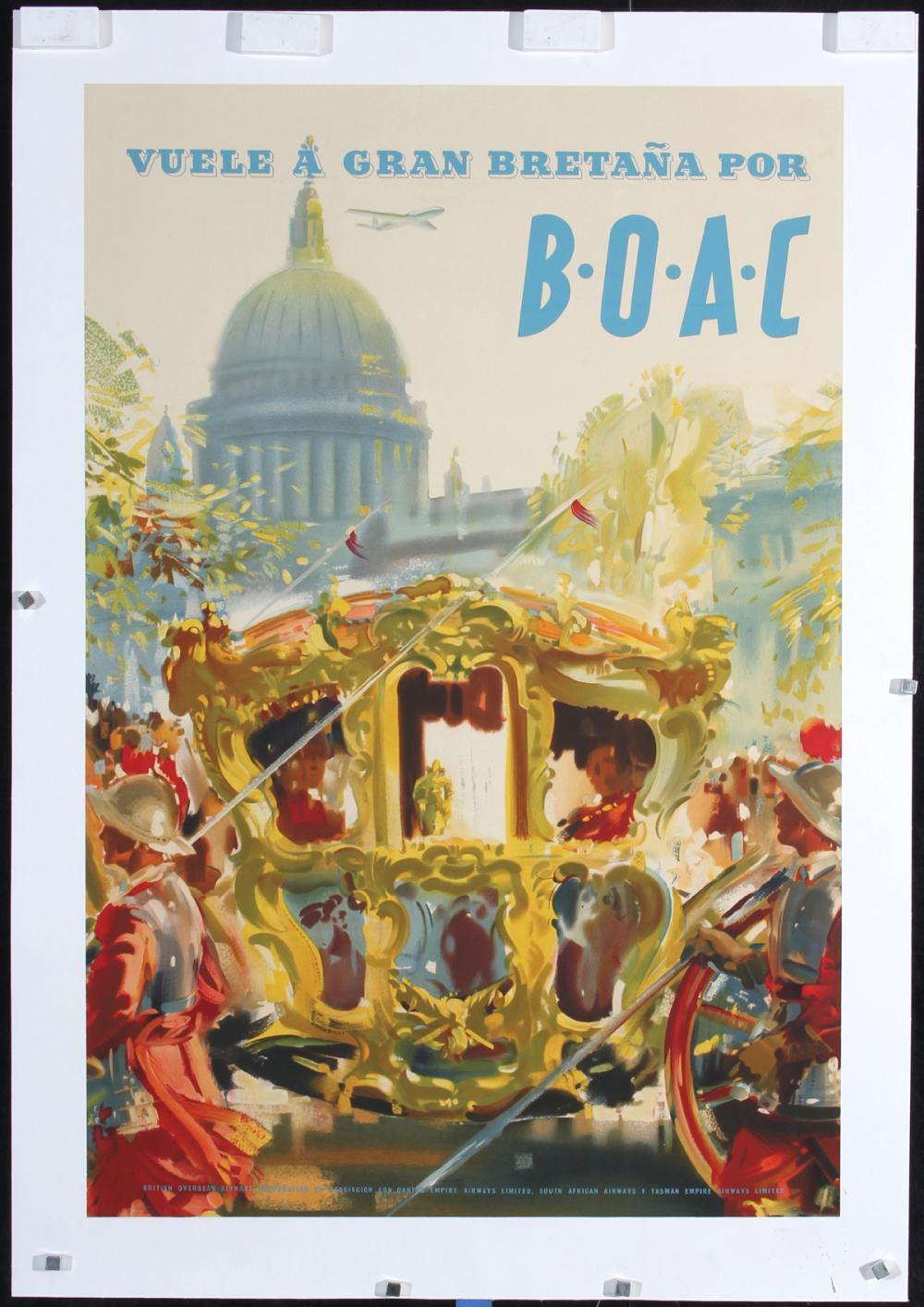Original Vintage 1950s BOAC Airline Travel Poster UK