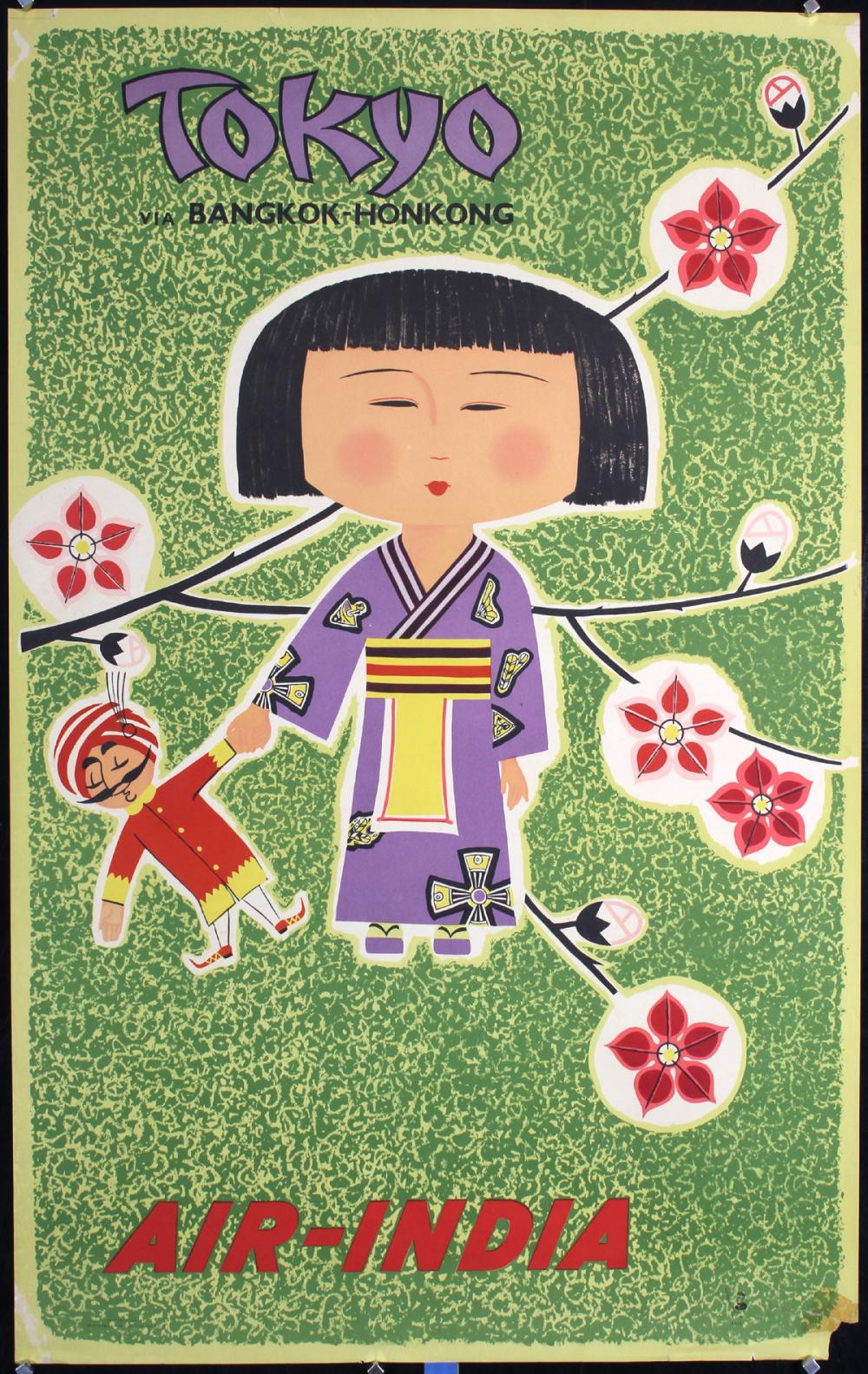 Original 1950s/60s Air India Tokyo Travel Poster
