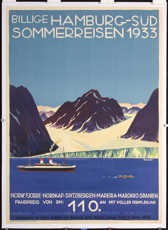 Original Vintage 1930s North Cape Ship Travel Poster