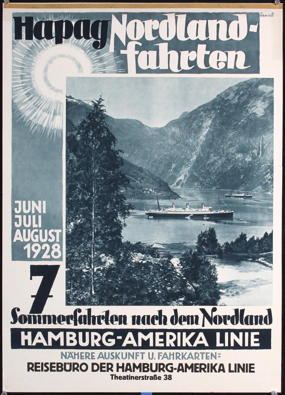 Original Vintage 1920s HAPAG Ship Travel Poster North