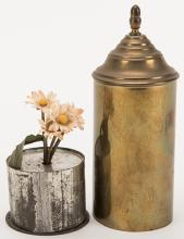 Birth of Flowers. Manufacturer unknown, ca. 1880s. A miniature pot sewn with a few seeds is suddenly filled with daisies after being covered by a brass tube. 6 x 2