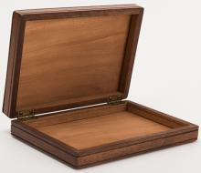 Jumbo Lock Flap Card Box. Alhambra: Owen Magic Supreme, ca. 1970. Finely crafted walnut box exchanges, vanishes, or produces jumbo playing cards when opened and closed. Locking gimmick. With instructions. Tiny scratches.