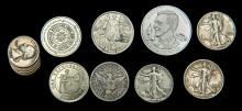 [Coins] Group of Vintage Magician's Silver Coins and Tokens. Eight pieces, 1900s – 80s. Including a hollowed and hinged stack of six 1942 quarters; a folding 1943 Liberty half dollar; a folding 1909 half-dollar; nesting 1934/43 Liberty half-dollar; and a group of modern tokens by Adams, Jay Marshall, Klosterman, and the S.A.M.
