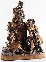 After John Rogers (American, 1829 ? 1904). The Traveling Magician. Circa 2000. Finely made commemorative bronze sculpture, from an edition of six, showing an itinerant magician performing for three children. 19 x 14 x 10?. Consigned directly from the manufacturer. Fine.