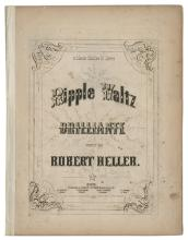[Heller, Robert] Ripple Waltz Brilliante. Boston: Oliver Diston, 1854. Engraved sheet music composed by the famous magician, humorist, and pianist Robert Heller (William Henry Palmer). Spine reinforced, minor foxing.