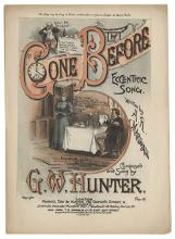 Hunter, G.W. Two Pieces of G.W. Hunter Sheet Music. London: Francis Day & Hunter, ca. 1893. Two pieces of music written by W.P. Keen (All the Comforts of a Home) and A.R. Marshall (Gone Before), composed and sung by the famous British music hall humorist and magician G.W. Hunter. The first bearing a ¾ length portrait of Hunter on the cover. Spine of one repaired; good.