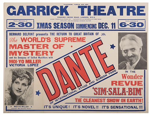 DANTE (HARRY AUGUST JANSEN). Dante. Of International Stage and Screen Fame.