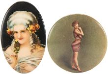 Pair of Celluloid Pocket Mirrors with Victorian Ladies.