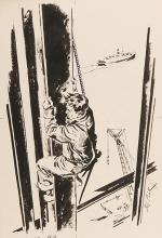 Fink, Bob (American, twentieth century). Who Needs Ladders? 1940s. Signed illustration depicting worker climbing steel beam at a high elevation while constructing skyscraper. Image measures 11 x 17 _ inches on larger board. Very good.