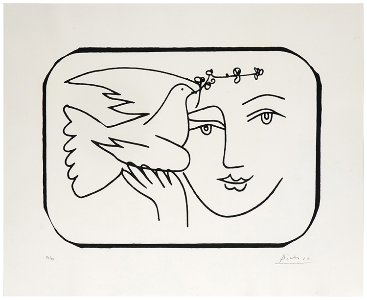 Picasso Line Drawing Face : Picasso pablo spanish  face with dove of peace
