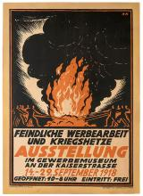 Ausstellung. Hamburg: Hartung & Co., 1918. German World War I exhibition poster with an image of a blazing fire. 20 x 28Ó. Mounted on linen. A.