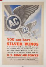 You Can Have Silver Wings. 1943. U.S. Army Air Forces World War II recruiting poster. 25 _ x 37 _Ó. Pre-print signature of the designer (Fischer). Minor marginal faults repaired; A-.