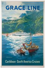 Grace Line: Caribbean, South American Cruises. 1958. Travel poster for a cruise line in South America and the Caribbean featuring an illustration of Venezuela. 28 x 42Ó. Mounted on linen. A.