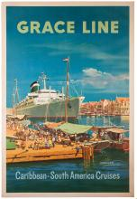 Grace Line: Caribbean, South American Cruises. 1957. Travel poster for a cruise line in South American and the Caribbean featuring art of Curacao, Netherlands West Indies. 28 _ x 42Ó. Mounted on linen. Light repaired marginal chips. A-.