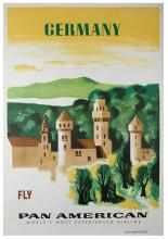 Kauffer, Edward McKnight. Germany. Fly Pan American. Circa 1960. Travel poster depicting a German castle with a skyline in the background. 27 _ x 41 _Ó. Closed tears at extremities; A-.