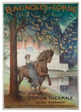 Leandre, C. Bagnoles de L?orne. Paris: H. Chachon, 1922. A horse and rider pose in front of a castle-like spa and a lake. 29 _ x 41 _Ó. A.