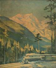 Krollmann, Gustave (1888 _ 1962). Northern Pacific Railroad. Mt. Rainier National Park. St. Paul, Minn.: Brown and Bigelow, ca. 1960s. After a painting by Krollmann of Mt. Rainier ÓFrom the Northern Pacific Main Line, Stampede, Washington.Ó In a gilt wooden frame with a brass plaque from the park affixed at bottom. 29 x 36Ó overall. Lightly toned, few surface chips.