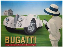 Razzia (G_rard Courbouleix). Bugatti Atlantic. A lady clad in white with a large hat stands with her back to the viewer, studying the large white automobile before her. French Grande (58 x 44 _Ó). A. Signed by the artist.