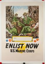 Roman, D.N. Enlist Now. U.S. Marine Corps. Peleliu. Circa 1940s. From a series of recruitment posters by various artists commissioned by the United States military during World War II. 28 x 40Ó. A.