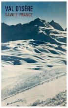 Val d'Isere. Savoie, France. France: Braun Mulhouse and the General Tourism Commissioner, ca. 1950s. Photographic poster to inspire tourism, particularly skiing. 27 x 41Ó. Mounted on linen, some light folds along the bottom edges and light soiling. A-.