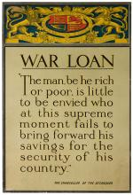 War Loan. England, ca. 1910s. Poster from World War I with a quote from the Chancellor of the Exchequer encouraging people to lend to the war effort. 19 _ x 20Ó. Mounted on linen. A.