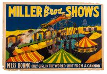 Miller Bros. Shows. Miss Bonno. Only Girl in the World Shot from a Cannon.