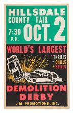 Vintage Demolition Derby Window Card.