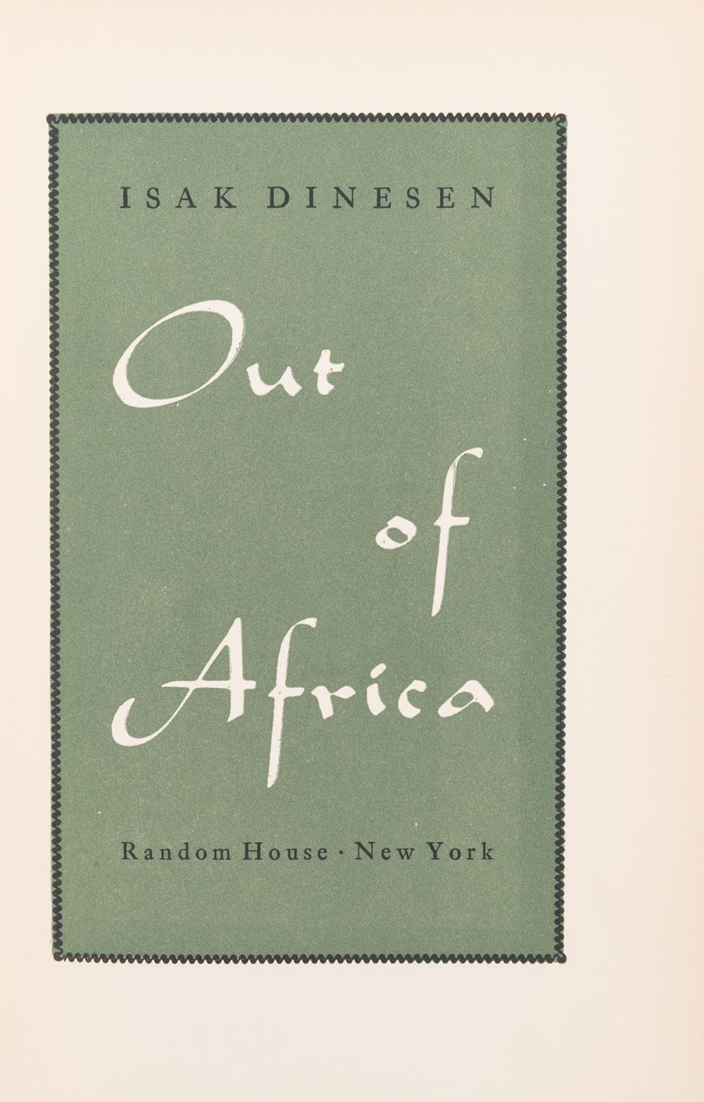 """BLIXEN, Karen (1885–1962) (""""Isak Dinesen""""). Out of Africa. ..."""
