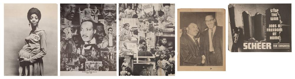 GROUP OF 5 CIVIL RIGHTS AND POLITICAL POSTERS. INCLUDING: R...