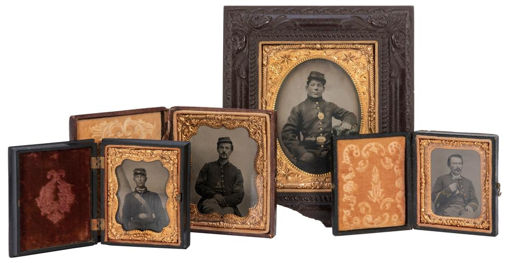 [U.S. CIVIL WAR]. A GROUP OF 4 UNION SOLDIER TINTYPES. INCL...