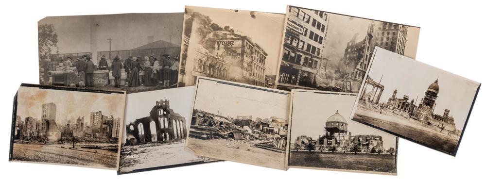 [SAN FRANCISCO EARTHQUAKE]. A GROUP OF PHOTOGRAPHS DEPICTIN...