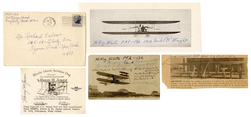 [AVIATION]. A GROUP OF 6 SIGNED ITEMS FROM EARLY 20TH CENTU...