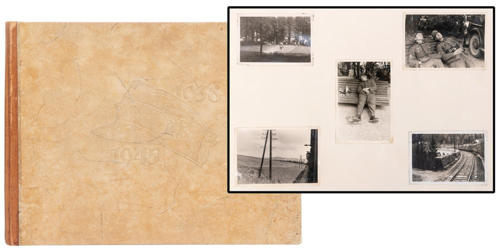 [WWII]. A GERMAN SOLDIER'S PHOTOGRAPH ALBUM OF 530 SNAPSHOT...