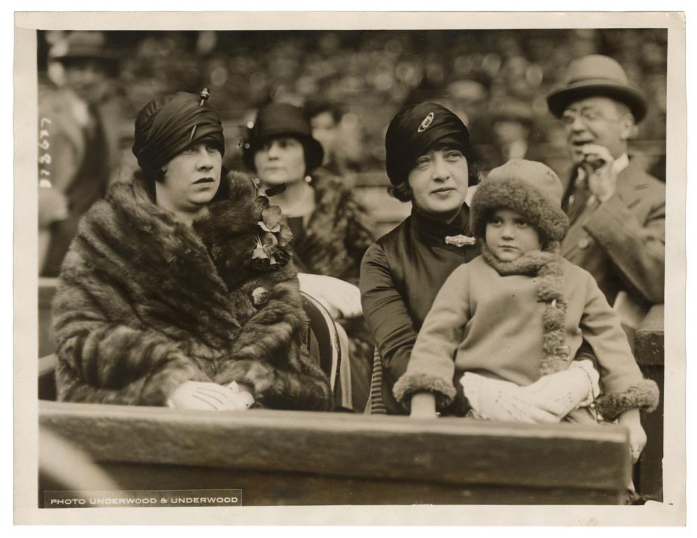 [BASEBALL]. PRESS PHOTO OF MRS. BABE RUTH, OPENING DAY 1925...