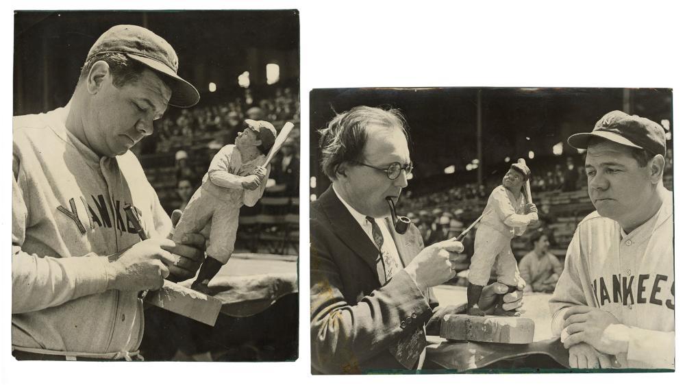 [BASEBALL]. PAIR OF BABE RUTH PRESS PHOTOS. N.D., CA. 1920S...