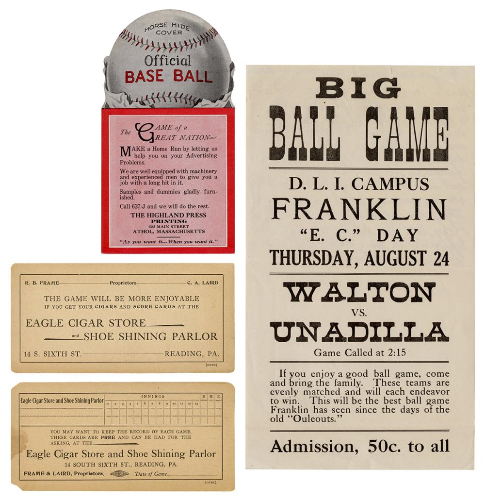 [BASEBALL]. A GROUP OF 11 ANTIQUE TICKETS, SCORECARDS, AND ...